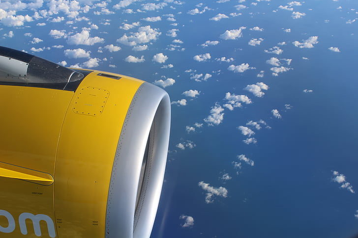 máy bay, động cơ, đám mây, chuyến đi, bầu trời