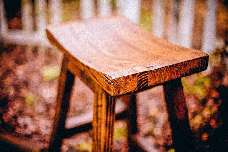 kėdė, medienos, paprastas, sėdi, iškirpti, rankų darbo, kaimiško stiliaus