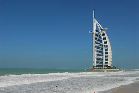 plaža, Burj Al Arab, Dubai, odmor, Hotel, Luksuzni, oceana