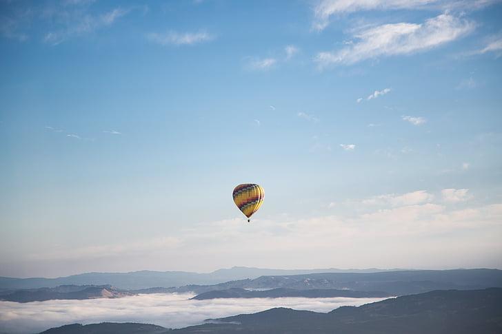 nature, landscape, clouds, sky, parachute, aerial, mountain