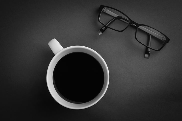 café, lunettes, maquette, maquette, Commencez vers le haut, démarrage, stock