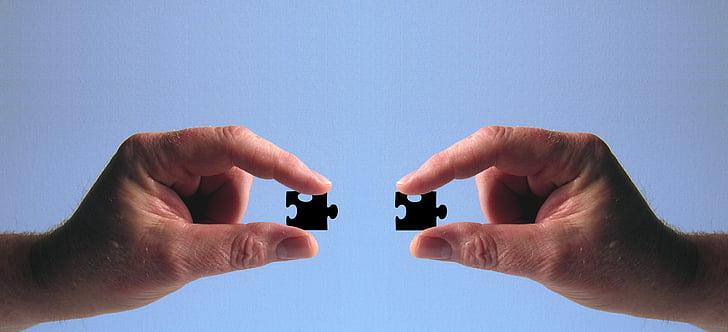 hand, houden, puzzel, vinger, pasvorm, invoegen, handvat