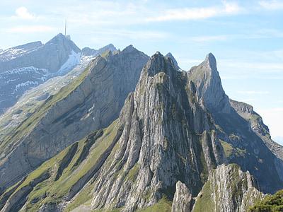 hory, alpské, krajina, Švýcarsko