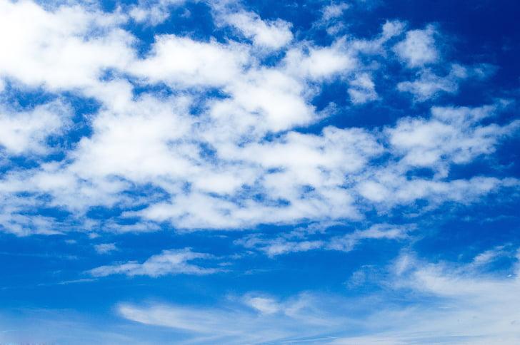 nebo, modra, oblaki, krajine, modro nebo