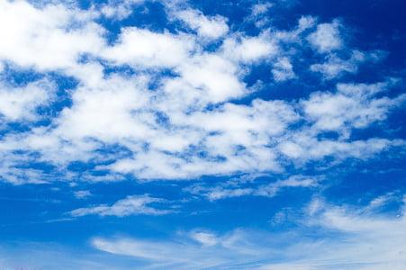 niebo, niebieski, chmury, krajobraz, błękitne niebo
