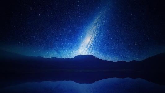 blå, nat, stjerner, astrologi, konstellationer, Sky, plads