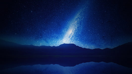 zila, naktī, zvaigznes, Astroloģija, Zvaigznāji, debesis, telpa