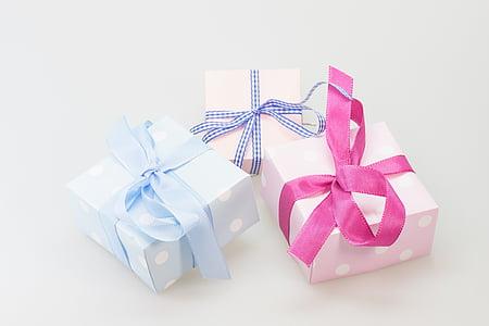 three, gift, packs, white, surface, birthday, christmas