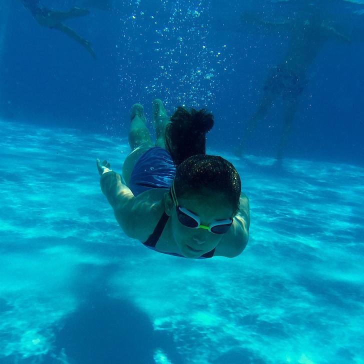 수영장, 소녀, 소프트웨어, 수영, 블루, 여름, 물