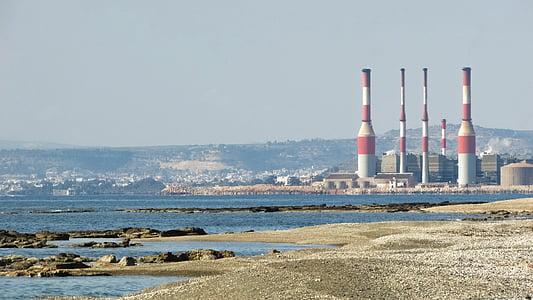 Кіпр, ormidhia, узбережжя, області Декелія електростанція, промисловість, фабрика, димохід
