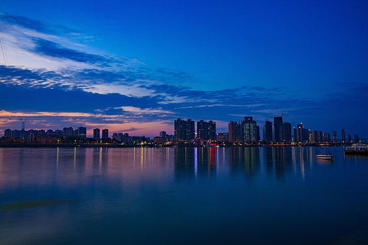 notte, vista di notte, costruzione, tramonto