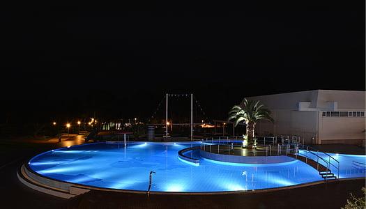 Yüzme, Havuzu, gece, otel, akşam, konukseverlik, su