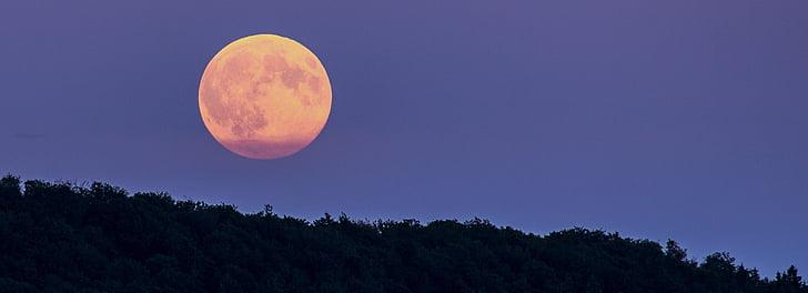 повний місяць, супер місяць, заходу, ніч, вечір, настрій, місяць