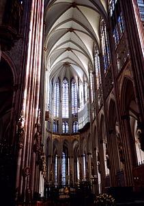 Nhà thờ Cologne cathedral, kiến trúc Gothic, Cologne trên sông rhine, kiến trúc, ca đoàn, Nhà thờ, ánh sáng