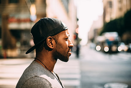 gorra, ciutat, moda, home, persona, carretera, carrer