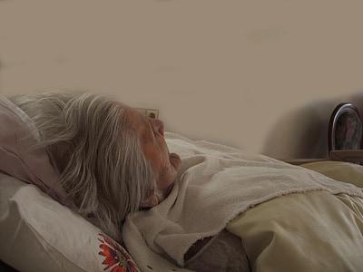 donna, vecchio, letto, preoccupazioni, dipendente, demenza, età