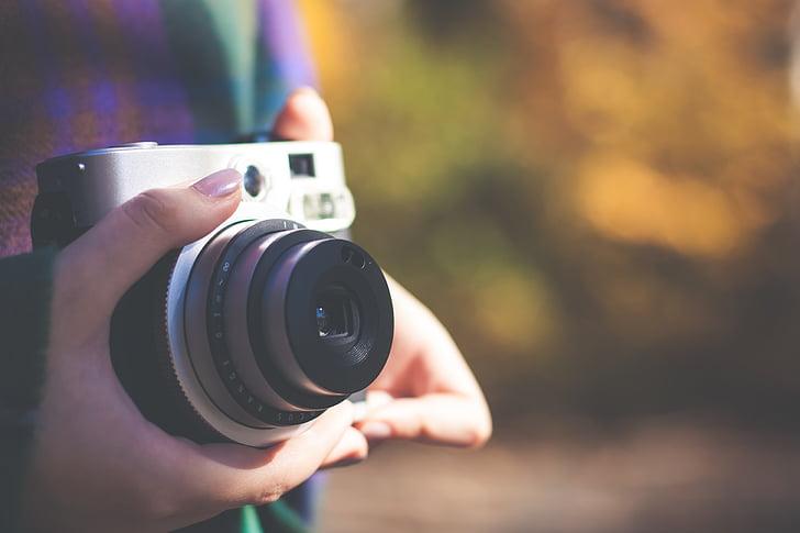 càmera, lent, fotògraf, mans, esmalt d'ungles, fotografia