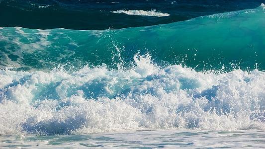 ola, burbujas, espuma de, aerosol, energía, agua, Splash