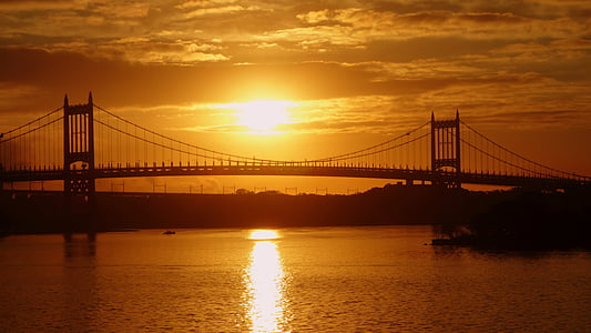 sunset, new york, the brooklyn bridge, evening, uSA, famous Place, bridge - Man Made Structure