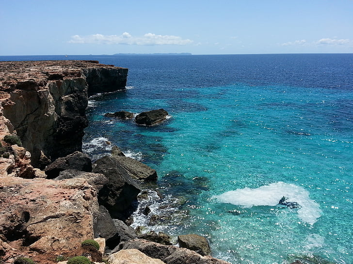 Mallorca, Cala, blått vatten, stranden, havet, Cliff, naturen