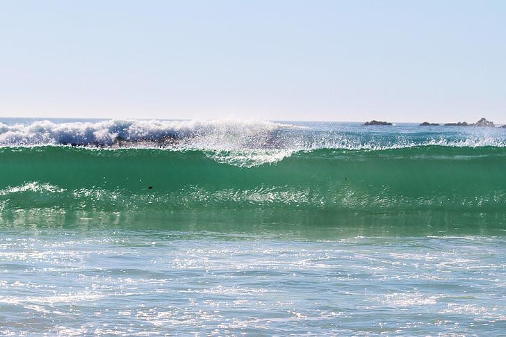 val, turcoaz, mare, ocean, plajă
