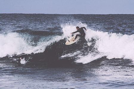 ο άνθρωπος, πρόσωπο, στη θάλασσα, surfer, σέρφινγκ, κύματα