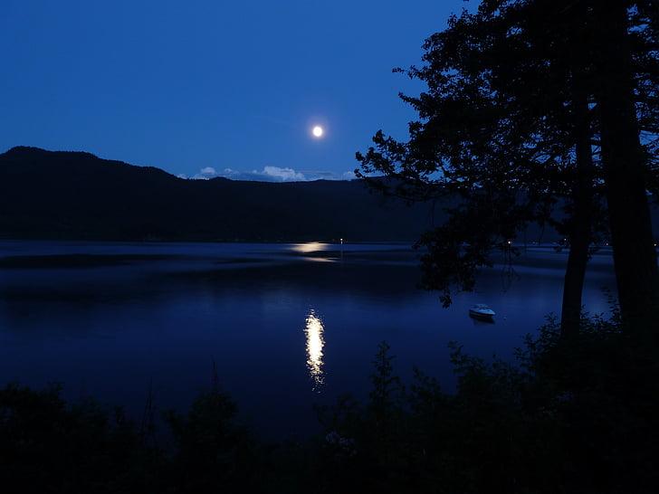 moon, moon shine, canim lake, reflection, hills, lake, trees