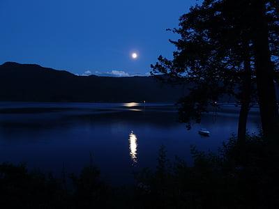 Lluna, brillantor de la lluna, Llac canim, reflexió, turons, Llac, arbres