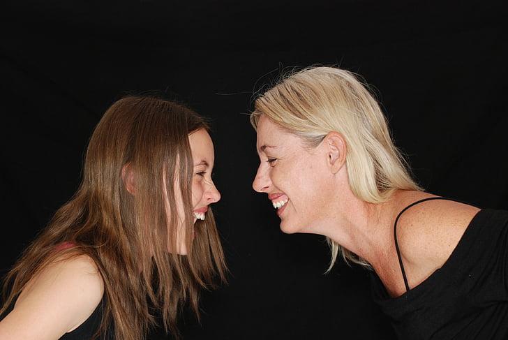 gelach, lachen, leuk, moeder, dochter, tiener, familie