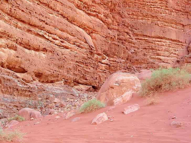 Wadi rum, Jordanien, öken, Rocks, Sand, grön, landskap