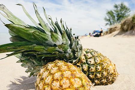 pineapple, sand, beach, summertime, summer, summer vibes, fruit