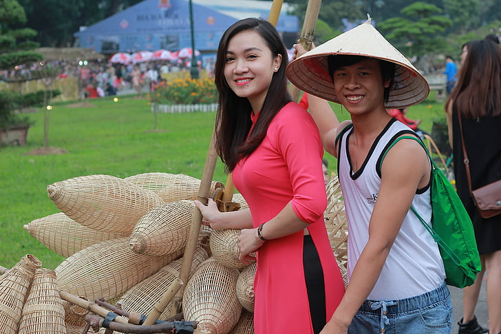 long coat, hat, dress, beauty, traditional costumes, vietnamese beauty, people of vietnam