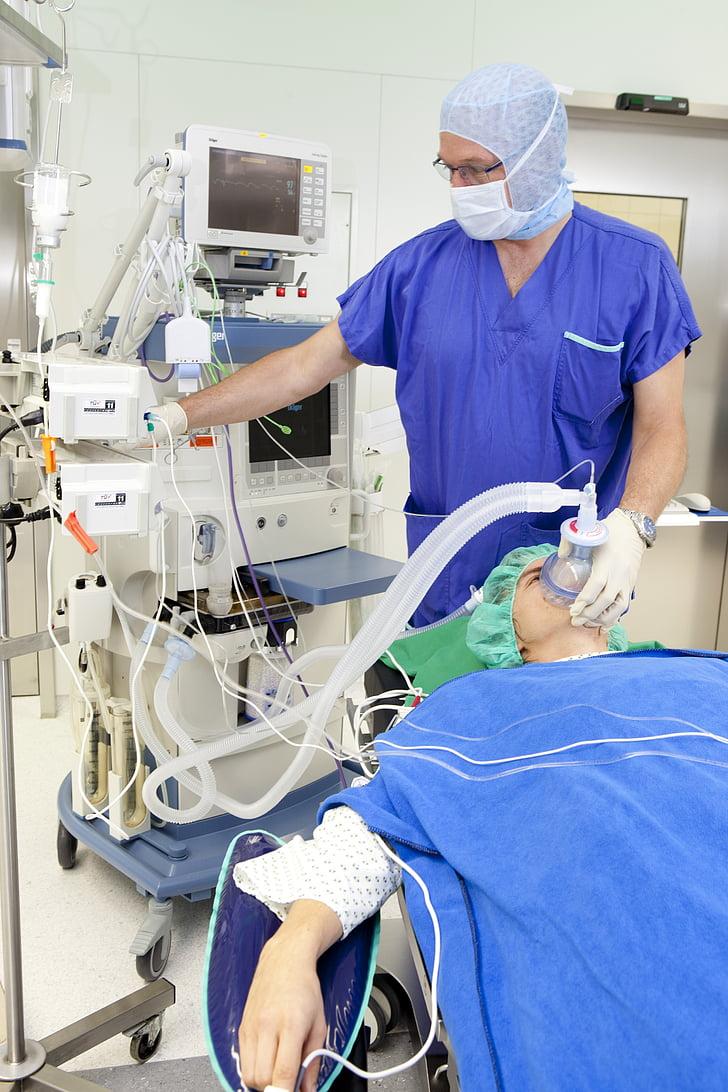 operació, màscara respiratòria, anestèsia, malalt, ferits, infusió, metge