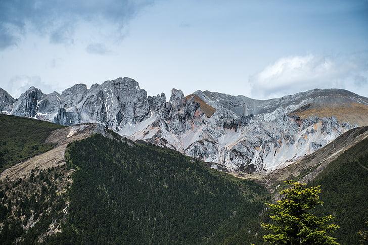 Mont enneigé, plateau, le paysage