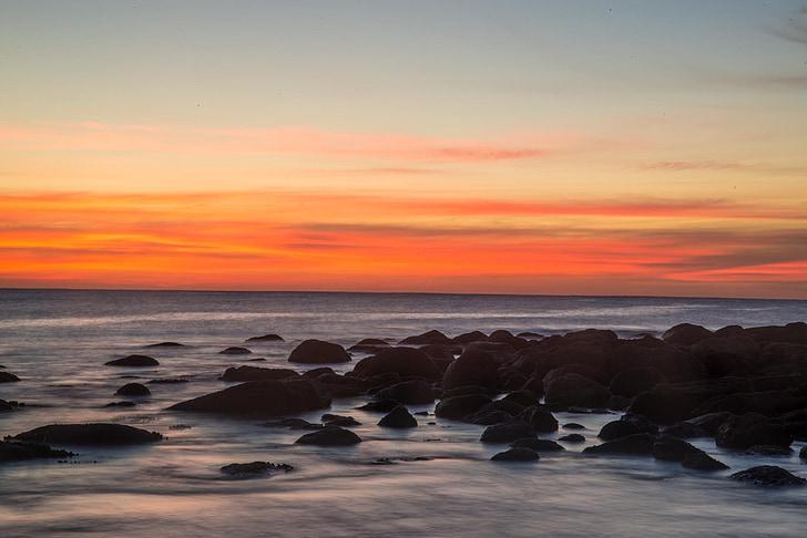 Maroubra, Sydney, Australien, soluppgång, Rocks, Ocean, havet