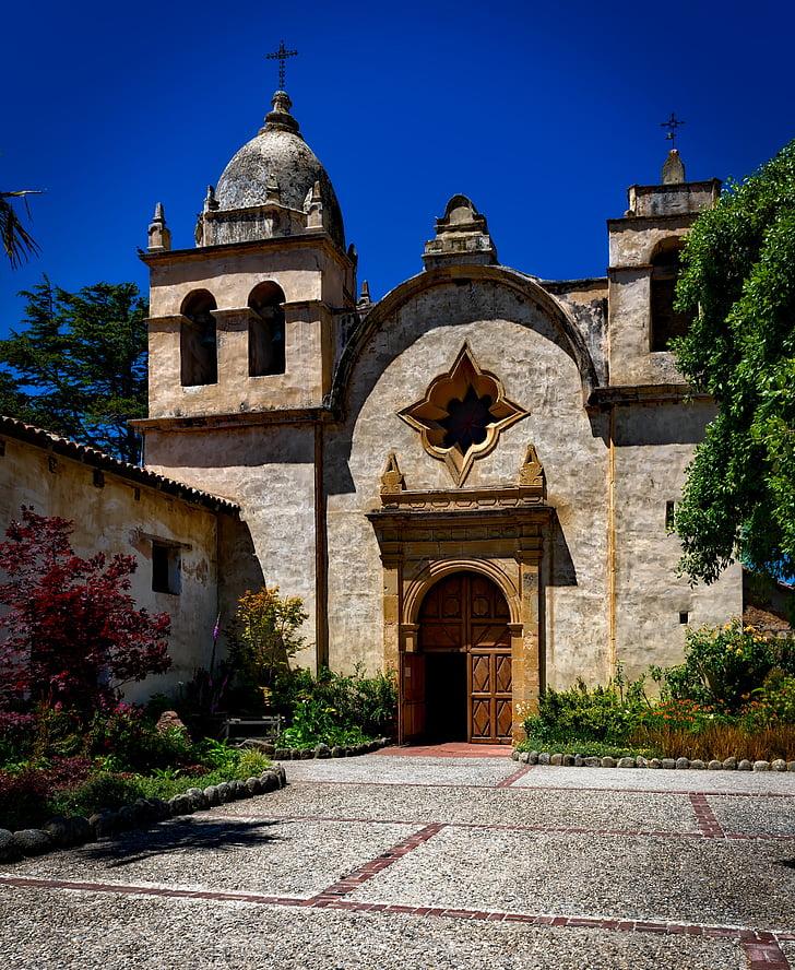 Karmel mise, Kalifornie, katolické, Architektura, víra, venku, budova