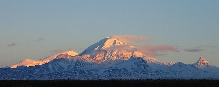 paisatge, escèniques, muntanyes Wrangell, núvols, neu, sol, natura