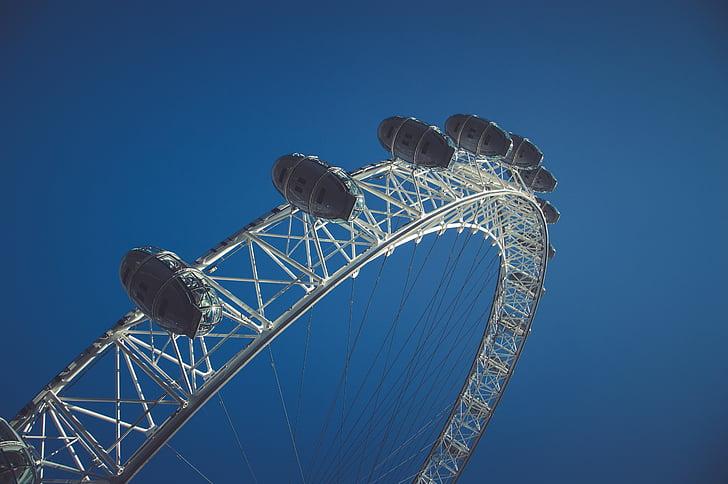 blue sky, london, london eye, blue, arts culture and entertainment, amusement park, rollercoaster
