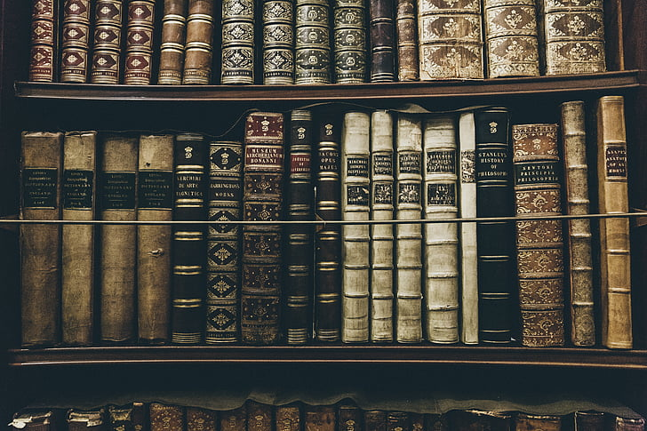 assorted, books, bookcase, book, antique, old, shelf