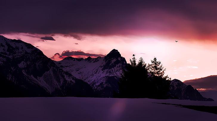 paisagem, montanhas, picos de montanha, cume de montanha, Inverno, neve, nascer do sol