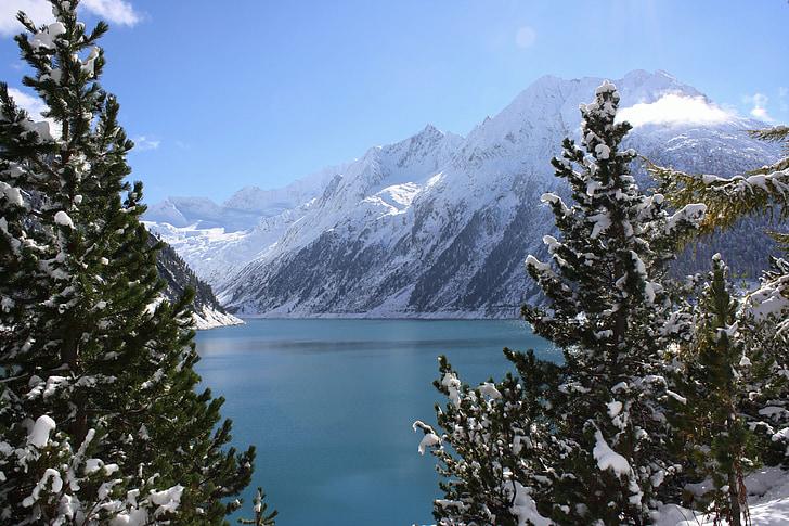 reservoir, schlegeis, Zillertal, bjerge, Alpine, landskab, Tyrol