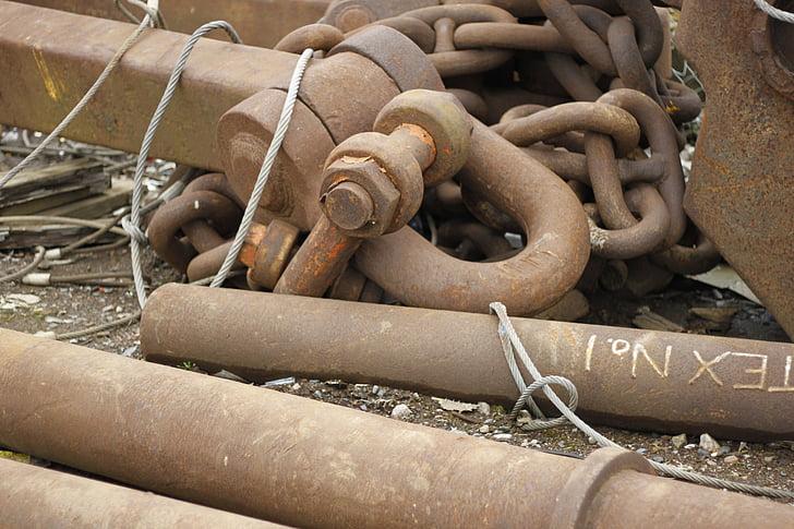 òxid, cadenes, metall, vaixell, ferro, Rusted, industrial