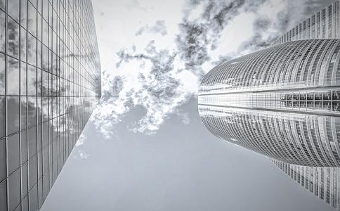 pilvelõhkuja, kõrghooneid, peegeldus, arhitektuur, kaasaegne, tuled, taevas