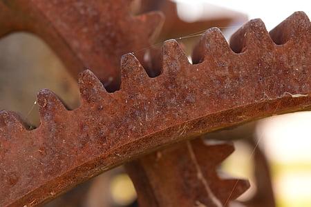 Angrenaje, metal, inoxidabil, tehnologie, masina, vechi, macro