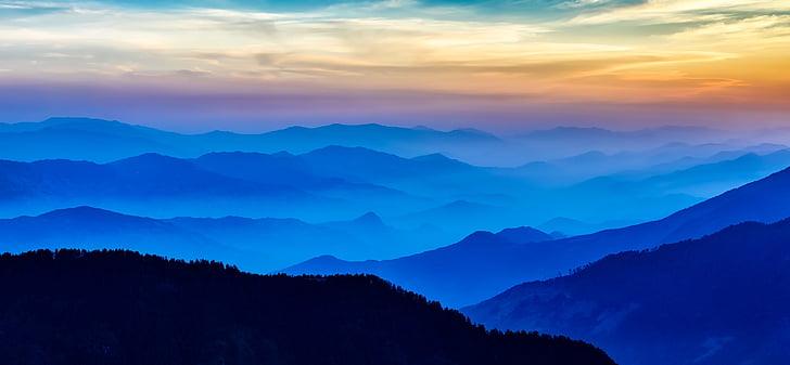Νεπάλ, Ανατολή ηλίου, το πρωί, βουνά, ομίχλη, ομίχλη, ομίχλη