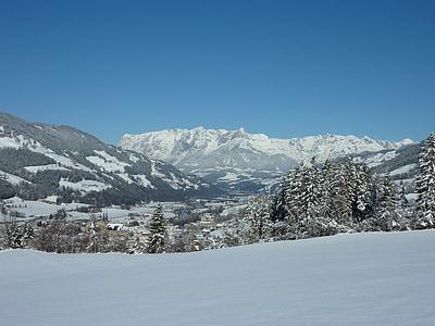 invernal, Tennengebirge, nieve, invierno, paisaje, cubierto de nieve, Blanco