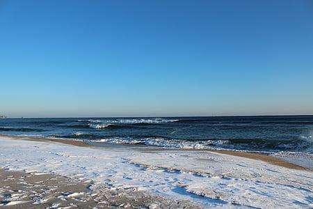 žiemos jūra, žiemą, jūra, paplūdimys, bangos