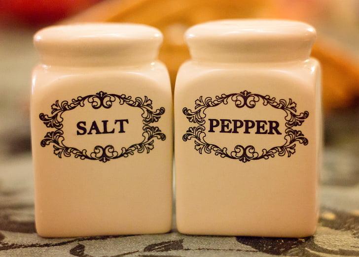 soľ a korenie, Shakers, soľ, korenie, korenie, Tabuľka, Kuchyňa