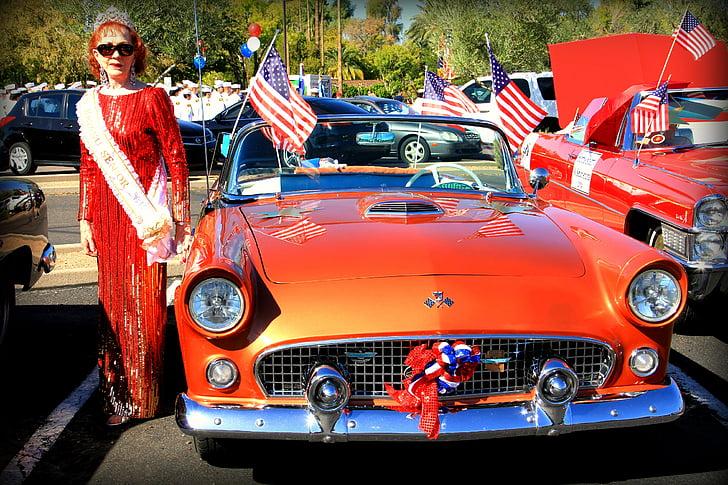 veteran's day parade, Phoenix, orange, klassisk bil, veteranbil, Oldtimer, Cabriolet