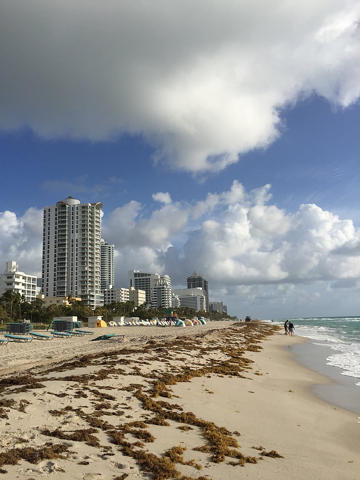 Miami beach, strand, Florida, Oceaan, hemel, vakantie, zand